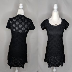 Free People Black Floral Lace Mini Dress Boho